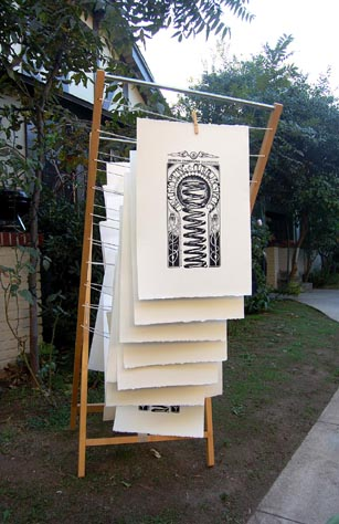 Photo of prints hanging to dry