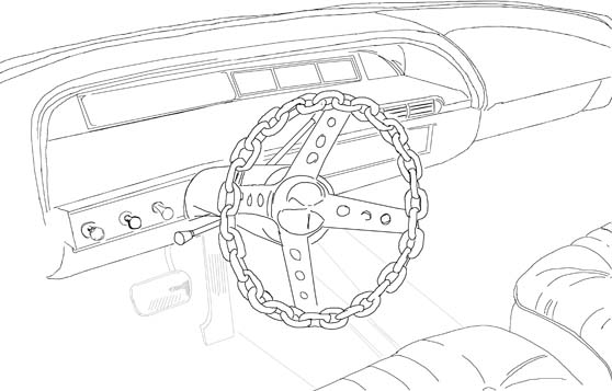 Drawing of car dashboard with chain steering wheel