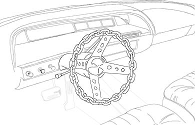 Black and white pen drawing of car interior with chain steering wheel.