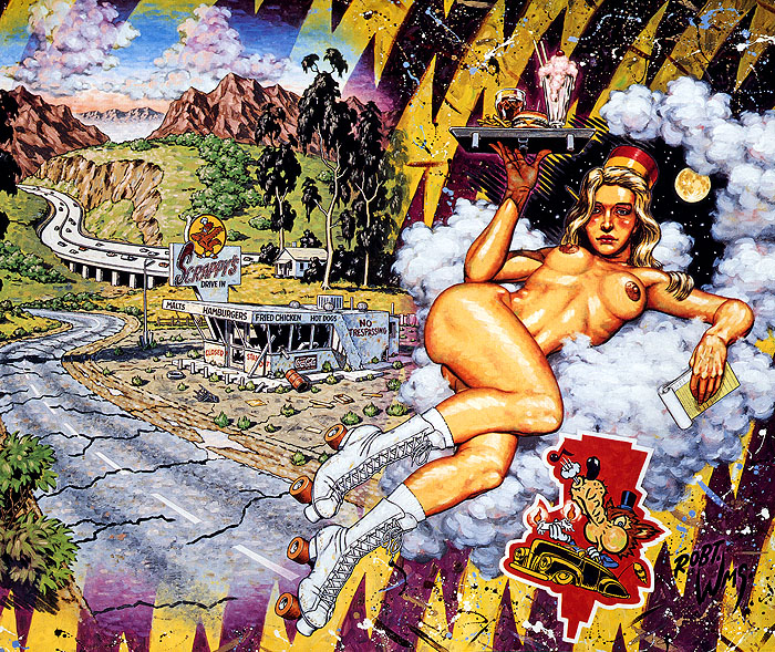 Painting by Robert Williams showing a nude drive in waitress in front of a drive in ruins.
