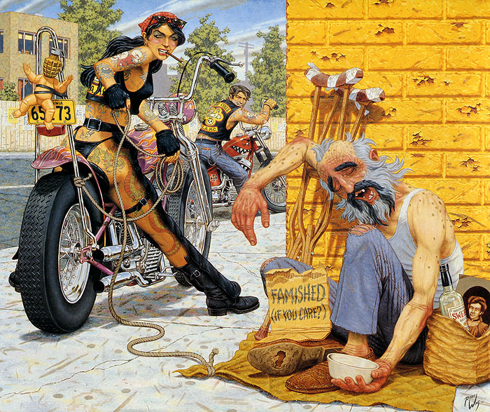 Painting by Robert Williams showing a female biker and a male biker about to cause mayhem to a panhandler.