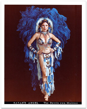 Photo of Satan's Angel in blue Las Vegas Indian Show Girl costume
